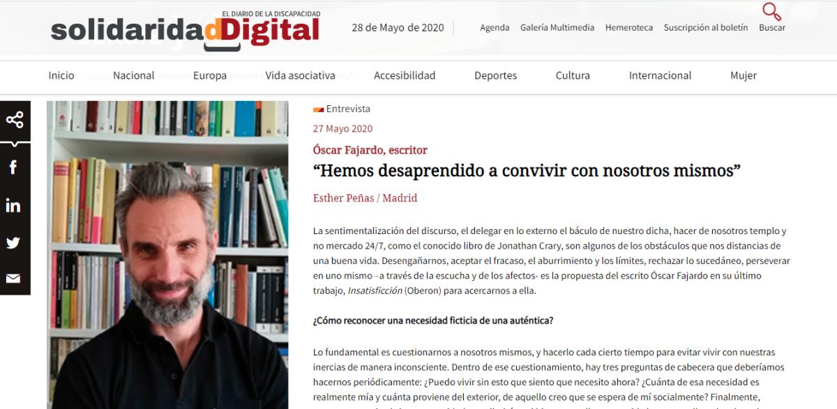 """Entrevista sobre """"INSATISFICCIÓN"""" en Solidaridad Digital de la FundaciónONCE"""